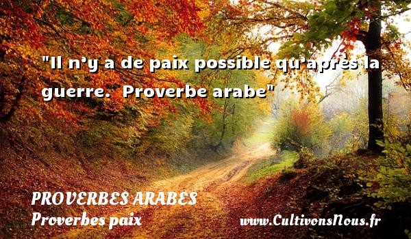 Il n'y a de paix possible qu'après la guerre.   Proverbe arabe   Un proverbe sur la Paix PROVERBES ARABES - Proverbes paix