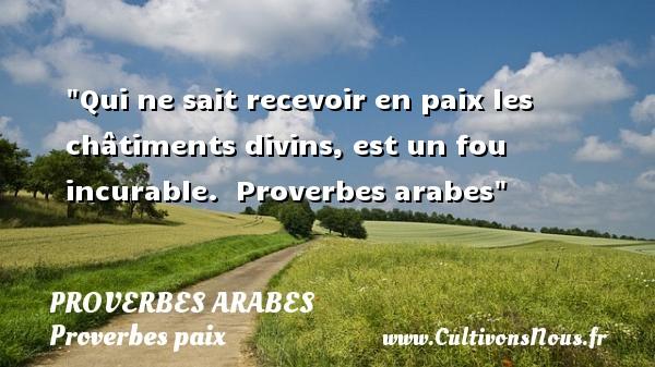 Proverbes arabes - Proverbes paix - Qui ne sait recevoir en paix les châtiments divins, est un fou incurable.   Proverbes arabes   Un proverbe sur la Paix PROVERBES ARABES