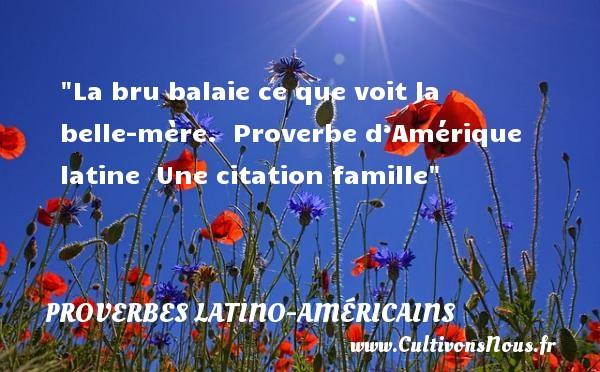 Proverbes latino-américains - Proverbes famille - La bru balaie ce que voit la belle-mère.   Proverbe d'Amérique latine   Une citation famille PROVERBES LATINO-AMÉRICAINS