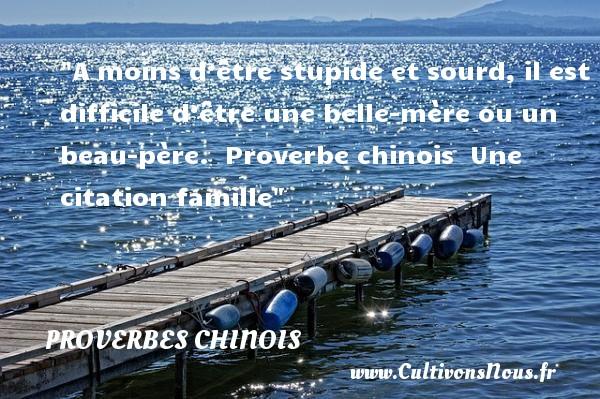 proverbes chinois - Citation famille - A moins d'être stupide et sourd, il est difficile d'être une belle-mère ou un beau-père.   Proverbe chinois   Une citation famille PROVERBES CHINOIS