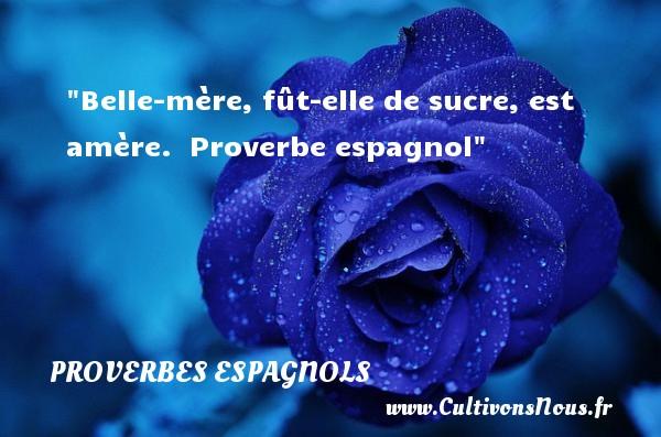 Proverbes espagnols - Proverbes famille - Belle-mère, fût-elle de sucre, est amère.   Proverbe espagnol   Un proverbe famille PROVERBES ESPAGNOLS