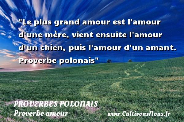 Proverbes polonais - Proverbe amour - Le plus grand amour est l amour d une mère, vient ensuite l amour d un chien, puis l amour d un amant.  Proverbe polonais  Un proverbe sur l amour PROVERBES POLONAIS
