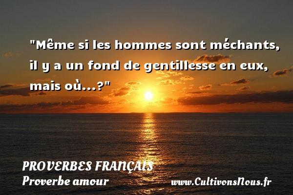Même si les hommes sont méchants, il y a un fond de gentillesse en eux, mais où...?  Un proverbe sur l amour PROVERBES FRANÇAIS - Proverbes français - Proverbe amour