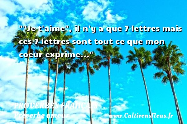Je t aime , il n y a que 7 lettres mais ces 7 lettres sont tout ce que mon coeur exprime...  Un proverbe sur l amour PROVERBES FRANÇAIS - Proverbes français - Proverbe amour