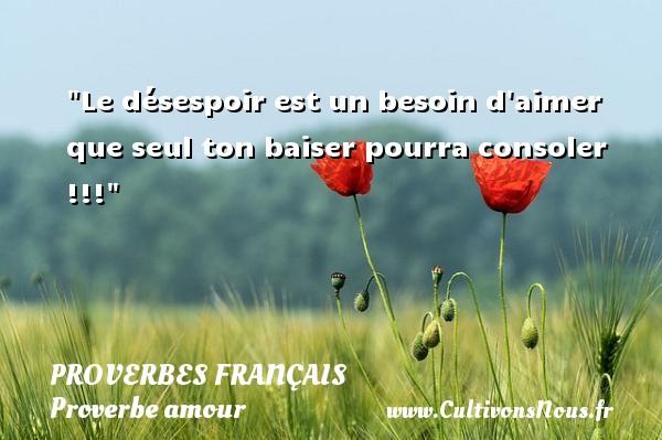 Le désespoir est un besoin d aimer que seul ton baiser pourra consoler !!!  Un proverbe sur l amour PROVERBES FRANÇAIS - Proverbes français - Proverbe amour