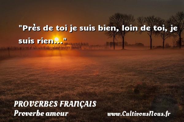Près de toi je suis bien, loin de toi, je suis rien...  Un proverbe sur l amour PROVERBES FRANÇAIS - Proverbes français - Proverbe amour