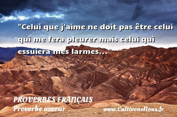 Celui que j aime ne doit pas être celui qui me fera pleurer mais celui qui essuiera mes larmes...  Un proverbe sur l amour PROVERBES FRANÇAIS - Proverbes français - Proverbe amour