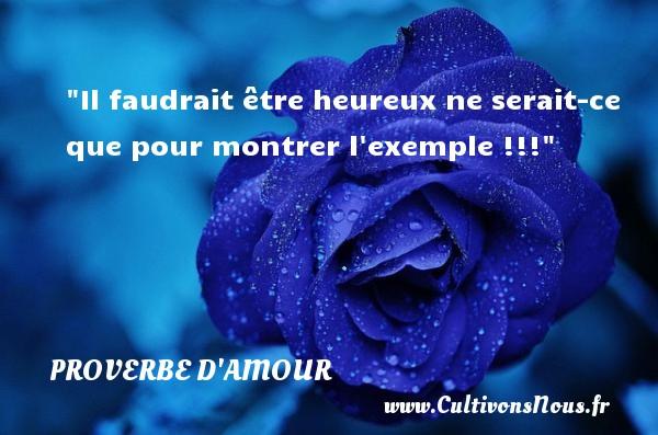 Proverbes français - Proverbe amour - Il faudrait être heureux ne serait-ce que pour montrer l exemple !!! PROVERBES FRANÇAIS