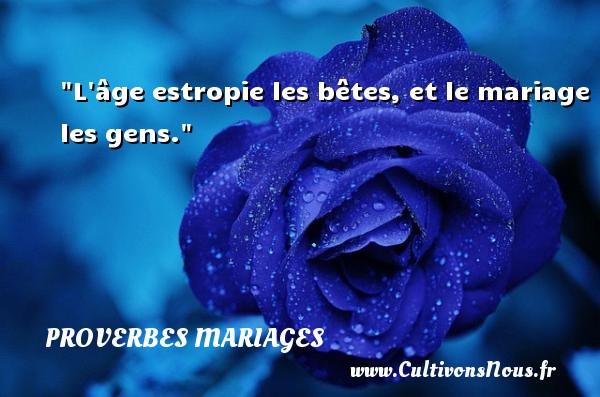 Proverbes anglais - Proverbes mariage - L âge estropie les bêtes, et le mariage les gens.   Un proverbe anglais   Un proverbe sur le mariage PROVERBES ANGLAIS