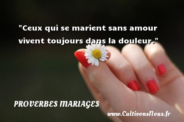 Proverbes français - Proverbes mariage - Ceux qui se marient sans amour vivent toujours dans la douleur.   Un proverbe français   Un proverbe sur le mariage PROVERBES FRANÇAIS