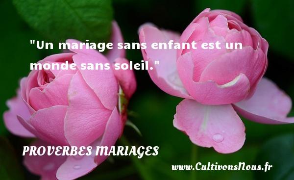 Un mariage sans enfant est un monde sans soleil.   Un proverbe latin   Un proverbe sur le mariage PROVERBES LATINS - Proverbes mariage