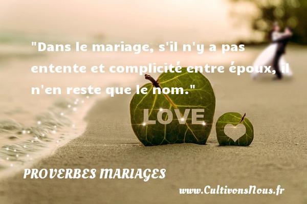 Dans le mariage, s il n y a pas entente et complicité entre époux, il n en reste que le nom.   Un proverbe malgache   Un proverbe sur le mariage PROVERBES MALGACHES - Proverbes mariage