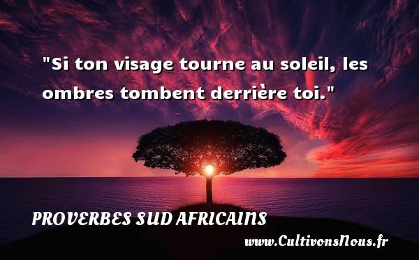 Si ton visage tourne au soleil, les ombres tombent derrière toi.  Un Proverbe Sud africain PROVERBES SUD AFRICAINS - Proverbes fun