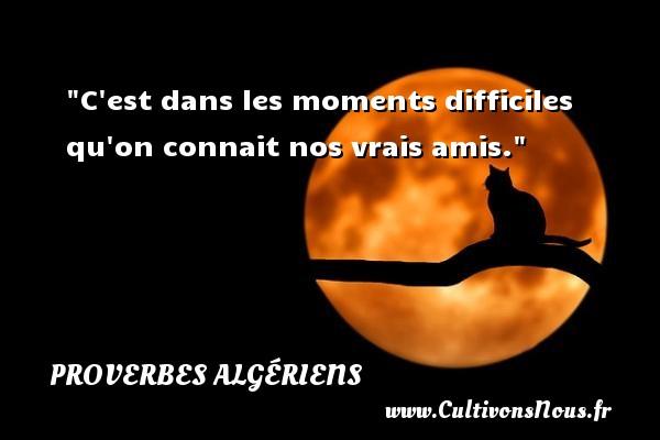 Proverbes Algériens - Proverbes philosophiques - C est dans les moments difficiles qu on connait nos vrais amis. Un Proverbe Algérien PROVERBES ALGÉRIENS
