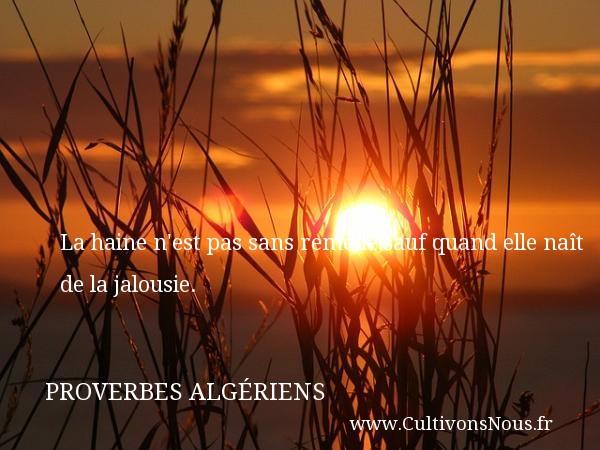 Proverbes Algériens - Proverbes philosophiques - La haine n est pas sans remède,sauf quand elle naît de la jalousie. Un Proverbe Algérien PROVERBES ALGÉRIENS