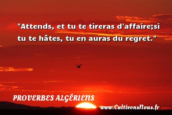 Attends, et tu te tireras d affaire;si tu te hâtes, tu en auras du regret. Un Proverbe Algérien PROVERBES ALGÉRIENS - Proverbes Algériens - Proverbes philosophiques
