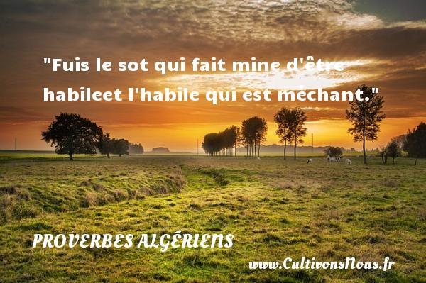 Fuis le sot qui fait mine d être habileet l habile qui est méchant. Un Proverbe Algérien PROVERBES ALGÉRIENS - Proverbes Algériens - Proverbes philosophiques