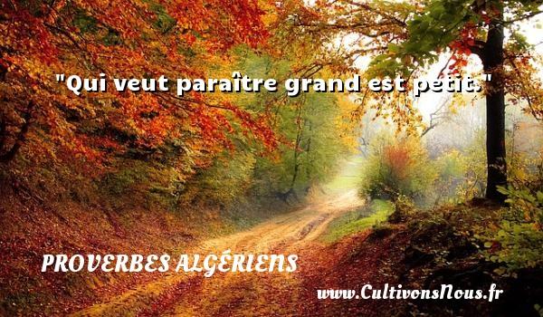 Qui veut paraître grand est petit. Un Proverbe Algérien PROVERBES ALGÉRIENS - Proverbes Algériens - Proverbes philosophiques