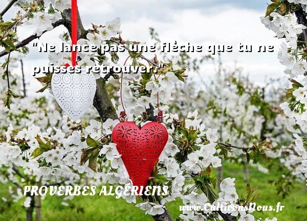 Ne lance pas une flèche que tu ne puisses retrouver. Un Proverbe Algérien PROVERBES ALGÉRIENS - Proverbes Algériens - Proverbes philosophiques
