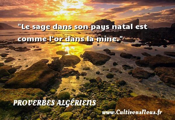 Le sage dans son pays natal est comme l or dans la mine. Un Proverbe Algérien PROVERBES ALGÉRIENS - Proverbes Algériens - Proverbes philosophiques