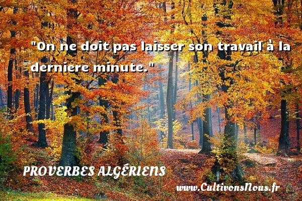 Proverbes Algériens - Proverbes philosophiques - On ne doit pas laisser son travail à la derniere minute. Un Proverbe Algérien PROVERBES ALGÉRIENS