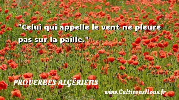Celui qui appelle le vent ne pleure pas sur la paille. Un Proverbe Algérien PROVERBES ALGÉRIENS - Proverbes Algériens - Proverbes philosophiques