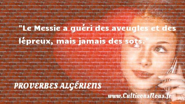 Le Messie a guéri des aveugles et des lépreux, mais jamais des sots.  Un Proverbe Algérien PROVERBES ALGÉRIENS - Proverbes Algériens - Proverbes fun