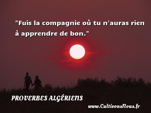 Fuis la compagnie où tu n auras rien à apprendre de bon.  Un Proverbe Algérien PROVERBES ALGÉRIENS - Proverbes Algériens - Proverbes fun