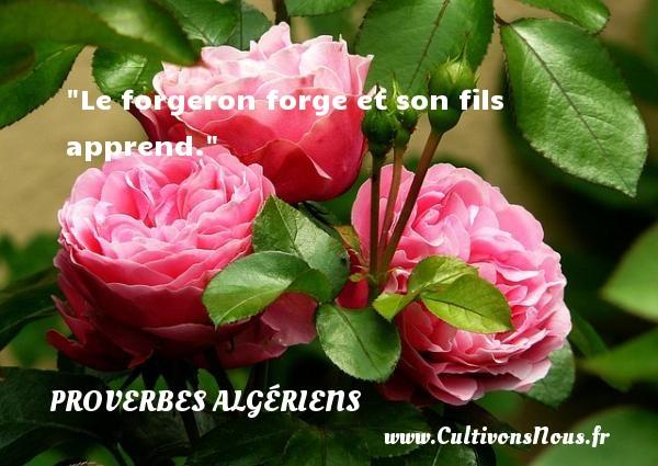 Le forgeron forge et son fils apprend.  Un Proverbe Algérien PROVERBES ALGÉRIENS - Proverbes Algériens - Proverbes fun