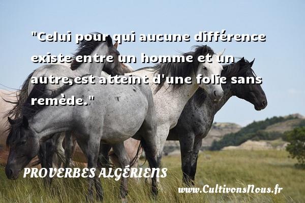 Celui pour qui aucune différence existe entre un homme et un autre,est atteint d une folie sans remède.  Un Proverbe Algérien PROVERBES ALGÉRIENS - Proverbes Algériens - Proverbes philosophiques