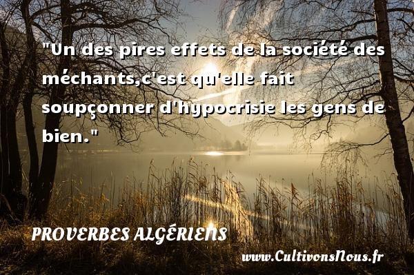 Un des pires effets de la société des méchants,c est qu elle fait soupçonner d hypocrisie les gens de bien.  Un Proverbe Algérien PROVERBES ALGÉRIENS - Proverbes Algériens - Proverbes philosophiques