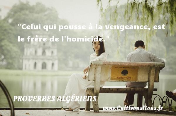 Proverbes Algériens - Proverbes philosophiques - Celui qui pousse à la vengeance, est le frère de l homicide.  Un Proverbe Algérien PROVERBES ALGÉRIENS