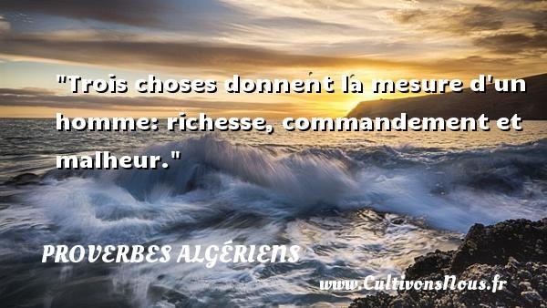 Trois choses donnent la mesure d un homme: richesse, commandement et malheur.  Un Proverbe Algérien PROVERBES ALGÉRIENS - Proverbes Algériens - Proverbes philosophiques