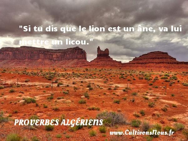 Proverbes Algériens - Proverbes philosophiques - Si tu dis que le lion est un âne, va lui mettre un licou.  Un Proverbe Algérien PROVERBES ALGÉRIENS