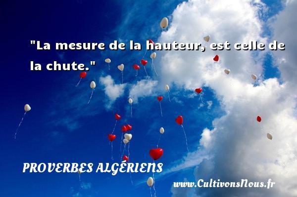La mesure de la hauteur, est celle de la chute.  Un Proverbe Algérien PROVERBES ALGÉRIENS - Proverbes Algériens - Proverbes philosophiques