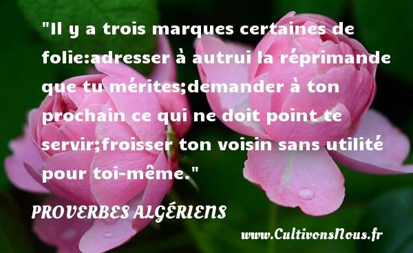 Il y a trois marques certaines de folie:adresser à autrui la réprimande que tu mérites;demander à ton prochain ce qui ne doit point te servir;froisser ton voisin sans utilité pour toi-même.  Un Proverbe Algérien PROVERBES ALGÉRIENS - Proverbes Algériens - Proverbes philosophiques