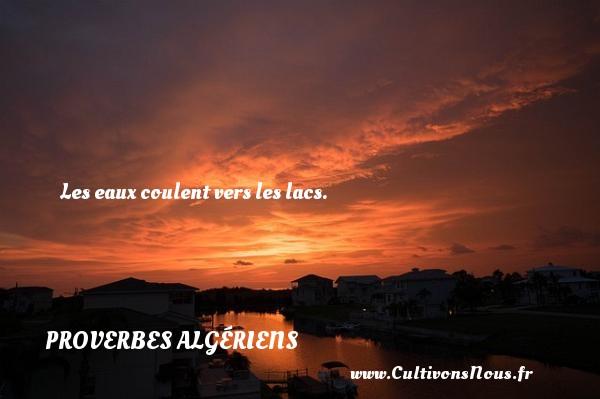 Les eaux coulent vers les lacs.  Un Proverbe Algérien PROVERBES ALGÉRIENS - Proverbes Algériens - Proverbes philosophiques