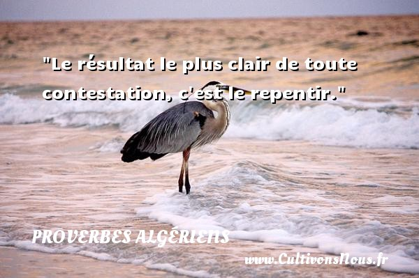 Proverbes Algériens - Proverbes philosophiques - Le résultat le plus clair de toute contestation, c est le repentir.  Un Proverbe Algérien PROVERBES ALGÉRIENS