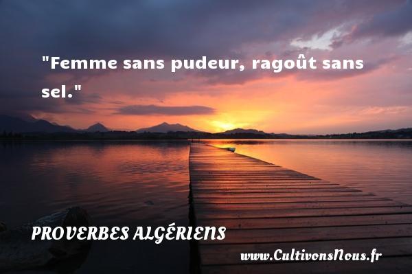 Femme sans pudeur, ragoût sans sel.  Un Proverbe Algérien PROVERBES ALGÉRIENS - Proverbes Algériens - Proverbes philosophiques