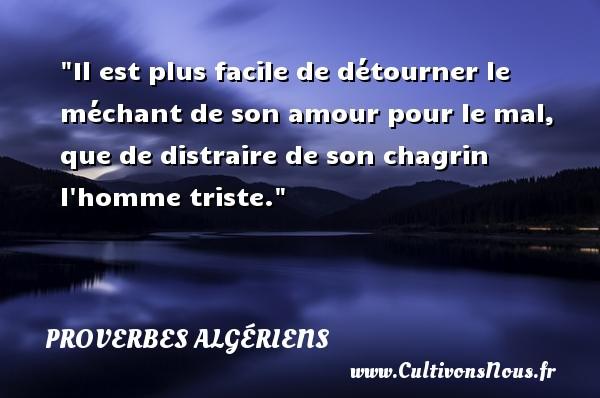 Il est plus facile de détourner le méchant de son amour pour le mal, que de distraire de son chagrin l homme triste.  Un Proverbe Algérien PROVERBES ALGÉRIENS - Proverbes Algériens - Proverbes philosophiques