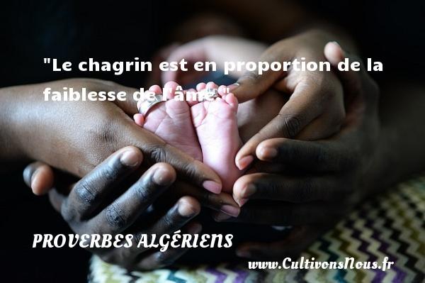 Proverbes Algériens - Le chagrin est en proportion de la faiblesse de l âme. Un Proverbe Algérien PROVERBES ALGÉRIENS