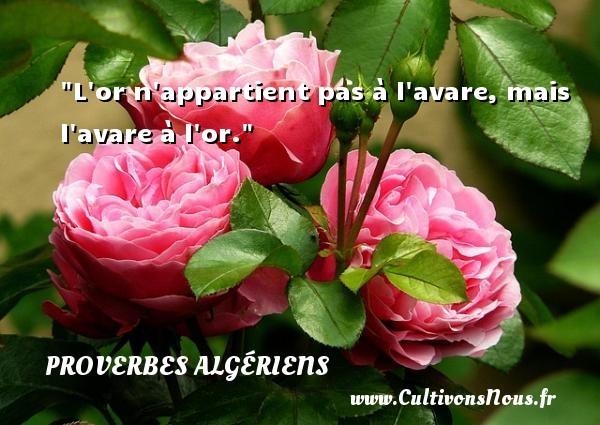 L or n appartient pas à l avare, mais l avare à l or. Un Proverbe Algérien PROVERBES ALGÉRIENS - Proverbes Algériens