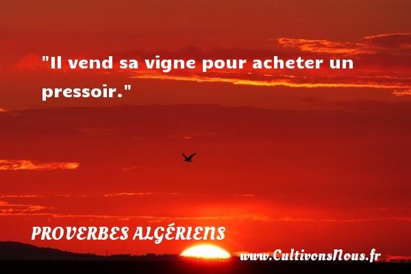 Il vend sa vigne pour acheter un pressoir. Un Proverbe Algérien PROVERBES ALGÉRIENS - Proverbes Algériens