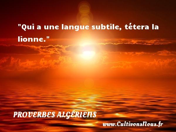 Qui a une langue subtile, tétera la lionne. Un Proverbe Algérien PROVERBES ALGÉRIENS - Proverbes Algériens