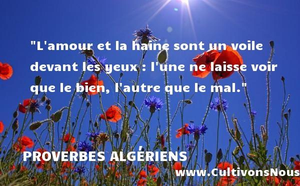 L amour et la haine sont un voile devant les yeux : l une ne laisse voir que le bien, l autre que le mal. Un Proverbe Algérien PROVERBES ALGÉRIENS - Proverbes Algériens - Proverbes haine