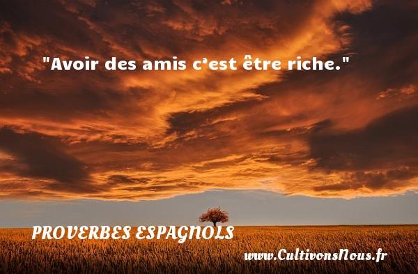 Avoir des amis c'est être riche. Un Proverbe espagnol PROVERBES ESPAGNOLS - Proverbes philosophiques