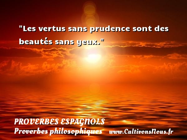 Proverbes espagnols - Proverbes philosophiques - Les vertus sans prudence sont des beautés sans yeux. Un Proverbe espagnol PROVERBES ESPAGNOLS