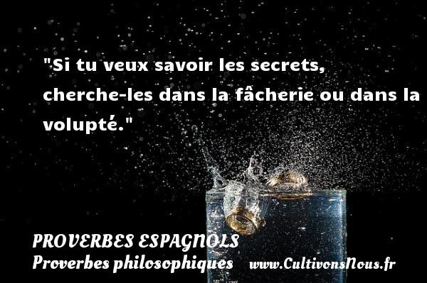 Si tu veux savoir les secrets, cherche-les dans la fâcherie ou dans la volupté. Un Proverbe espagnol PROVERBES ESPAGNOLS - Proverbes philosophiques