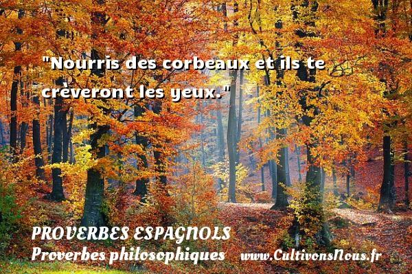 Proverbes espagnols - Proverbes philosophiques - Nourris des corbeaux et ils te crèveront les yeux. Un Proverbe espagnol PROVERBES ESPAGNOLS