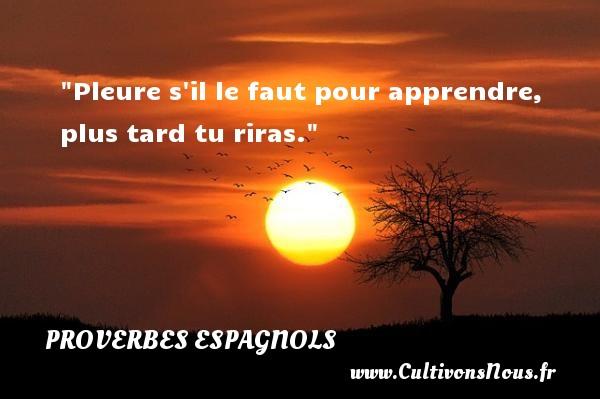 Pleure s il le faut pour apprendre, plus tard tu riras. Un Proverbe espagnol PROVERBES ESPAGNOLS - Proverbes philosophiques